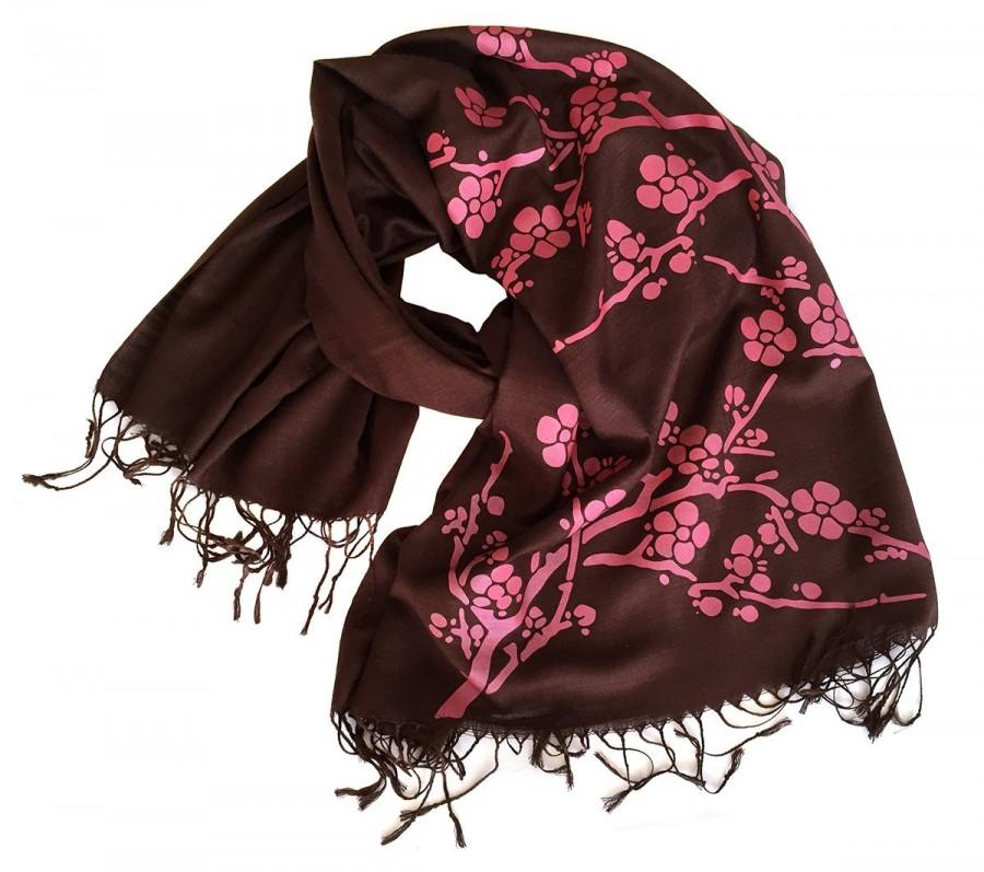 Wedding - Cherry Blossom Scarf. Printed shawl, bridesmaid wrap, cover up. Silkscreened linen weave pashmina. Fuchsia on espresso brown & more.