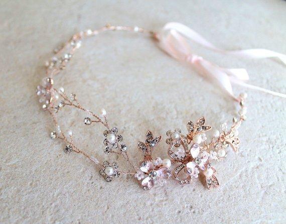 Wedding - Rose gold or Gold Leaf Vine Bridal Headpiece. Boho Silver Crystal Pearl Wedding Wreath. Halo Headband. Rhinestone Floral Hairpiece. TEREZ