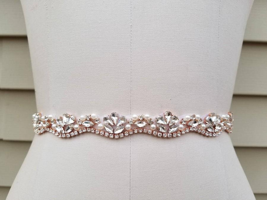 Wedding - SALE - Wedding Belt, Bridal Belt, Sash Belt, Crystal Rhinestone & Off White Pearls with Rose Gold Details - Style B3033RG
