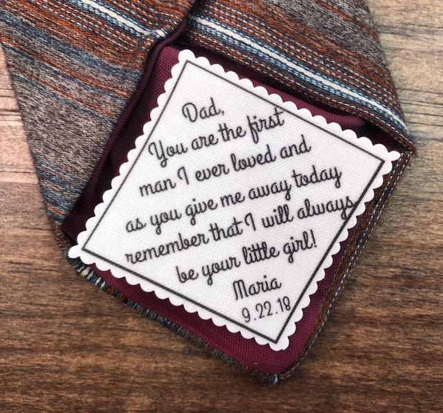 """Mariage - FATHER of the BRIDE GIFT, Personalized Tie Patch, Sew On, Iron On, 2.5"""" Wide, You Are the First Man I Ever Loved, As You Give Me Away"""