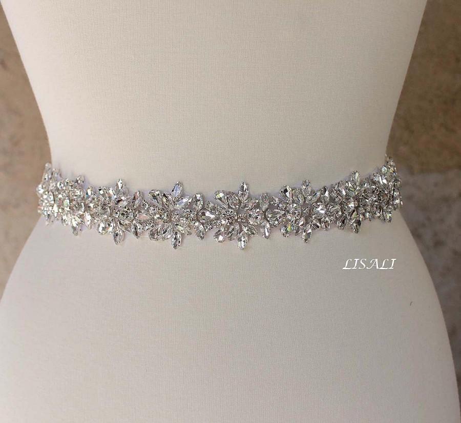 "Mariage - LISALI 10""-42""  Sparkly Wedding Belt, Long Rhinestone Belt,  Bridal Rhinestone  Belt, Crystal Sash Belt, Wedding Dress Belts Crystal Silver"