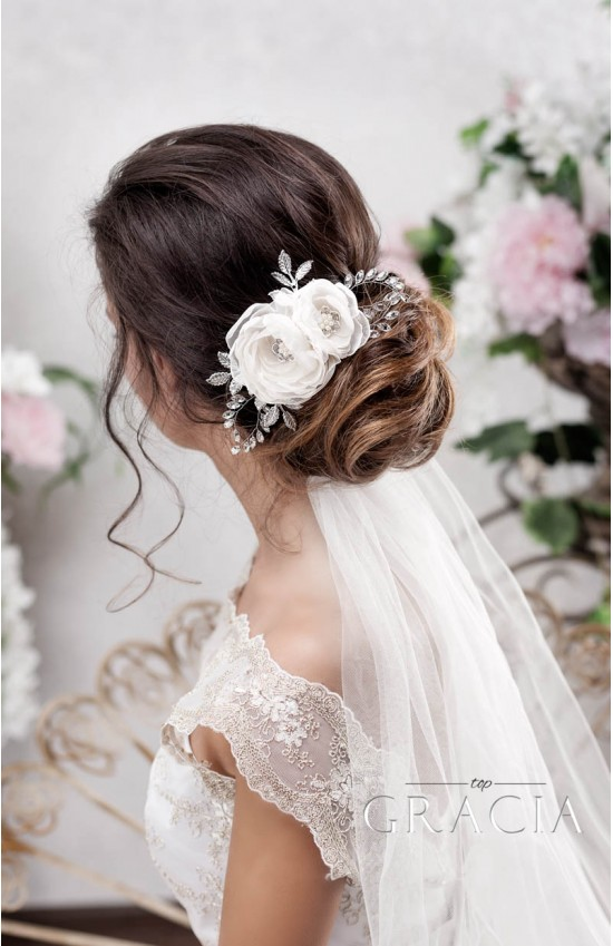 Hochzeit - TEODORA Champagne Bridal Hair Flower for Creating a Subtle Look by TopGracia
