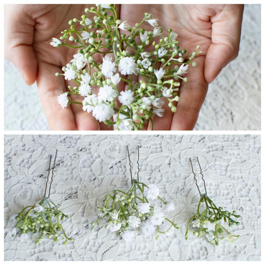 Mariage - Set of three Hair pin Gypsophila hairpins Bridal hair pin Wedding hair pin Branch pins  Bride hair pin Bridesmaid hair pin