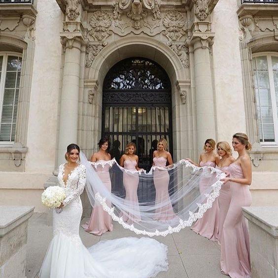 Mariage - Bridal Lace Veil , Lace Wedding Veil,  white ivory soft tulle veil bridal Veil Fingertip Elbow Cathedral Chapel Waltz length bridal veil