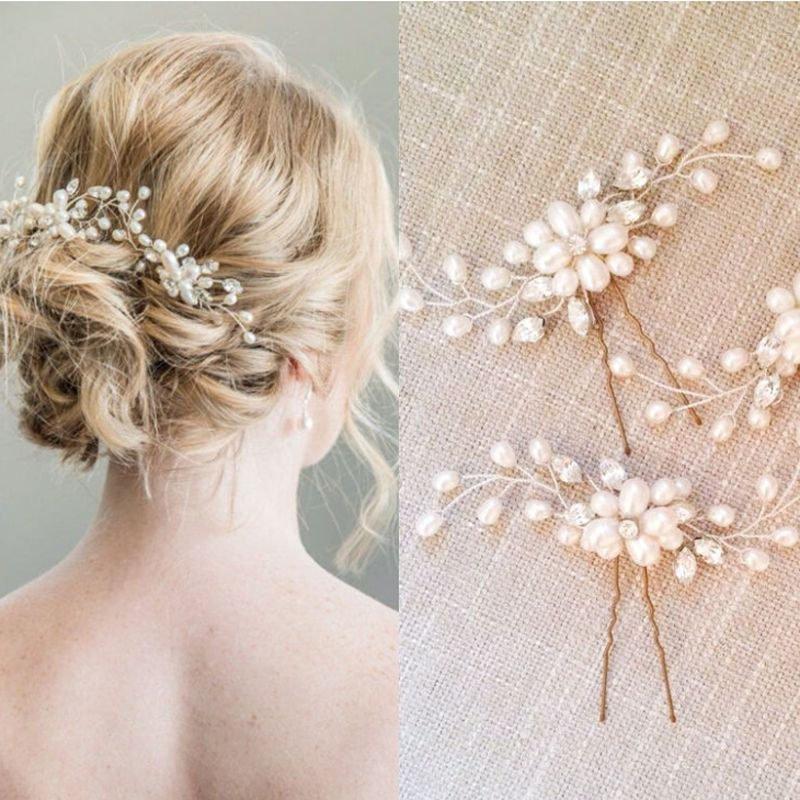 Mariage - Wedding Hair Pins Crystal Bridal hair pins faux pearls hair accessories crystal hair jewelry