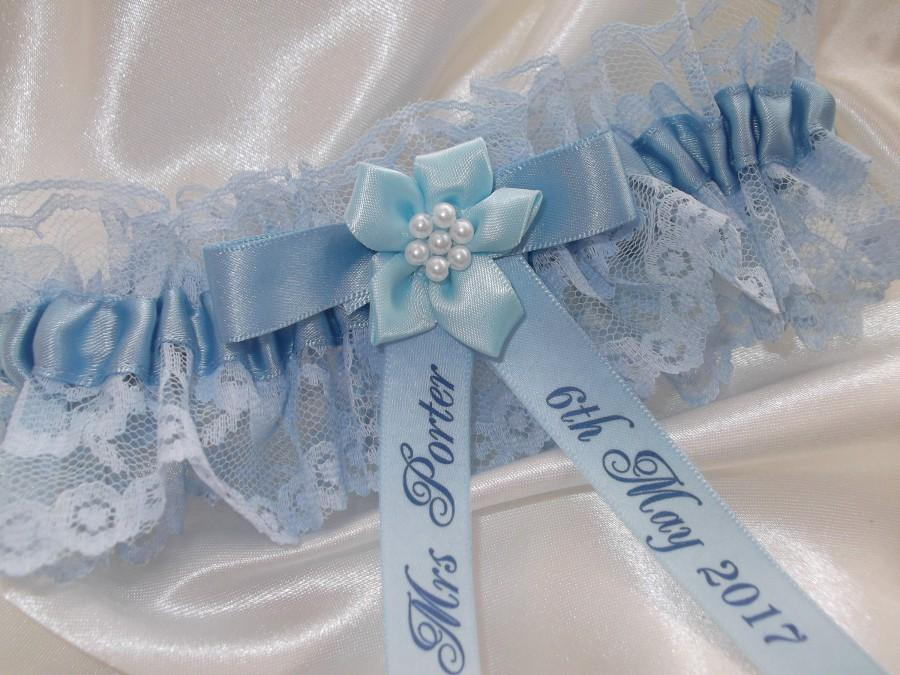 Свадьба - Personalised Blue Wedding Garter Handmade to order with name and wedding date - Excellent Gift for the Bride Something Blue