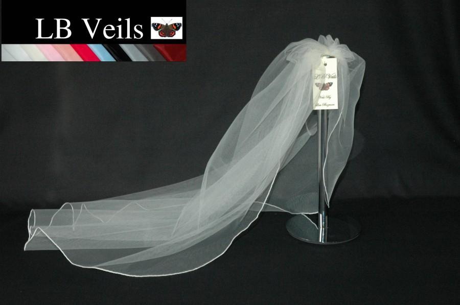 Свадьба - Wedding Veil, White, 1 Single Tier, Plain Veil, Veil, Short Veil, Long, Elbow Length, Fingertip, Floor, Cathedral, White, LB Veils LBV143 UK