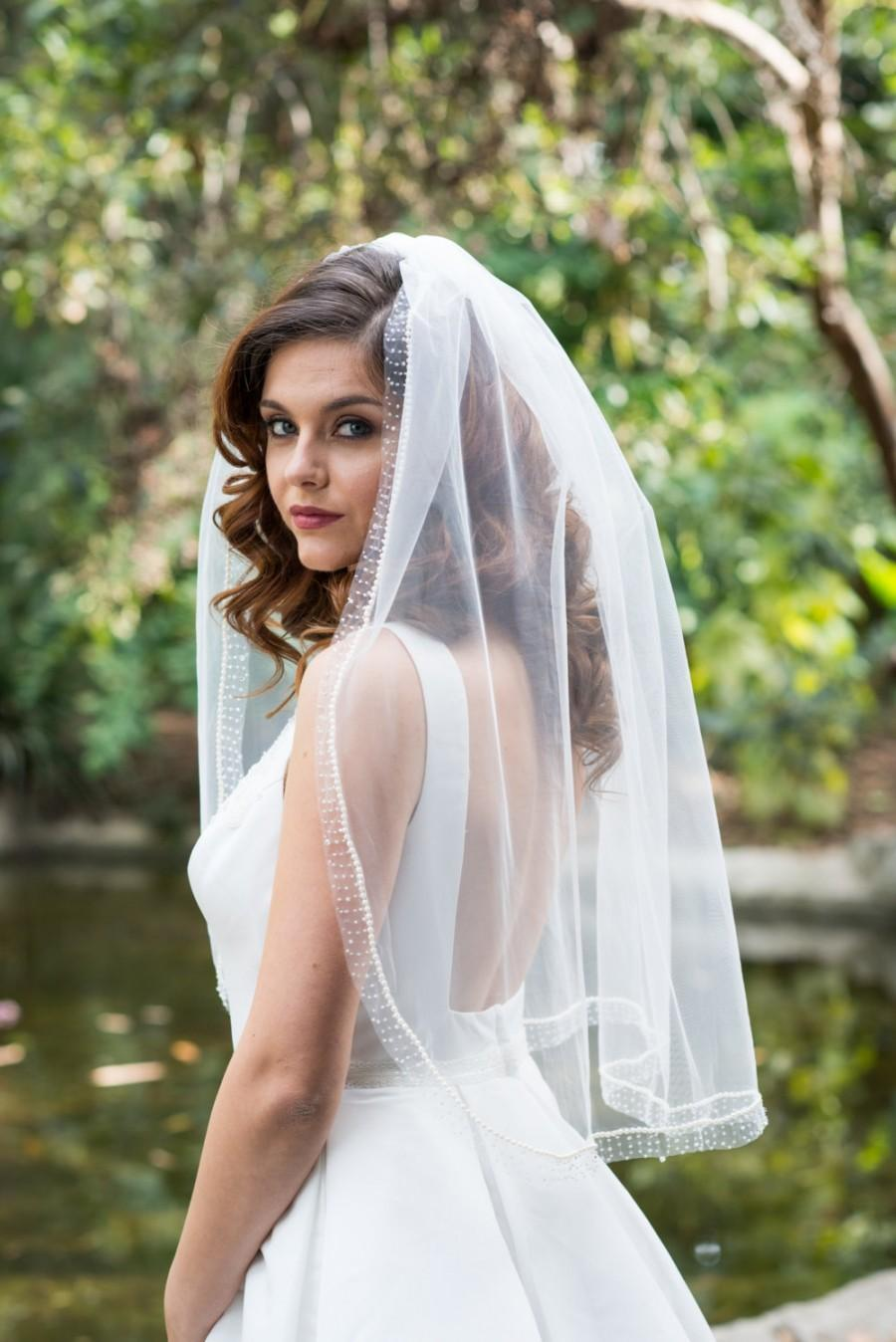 Свадьба - Pearl Beaded Edge Veil - Single Tier