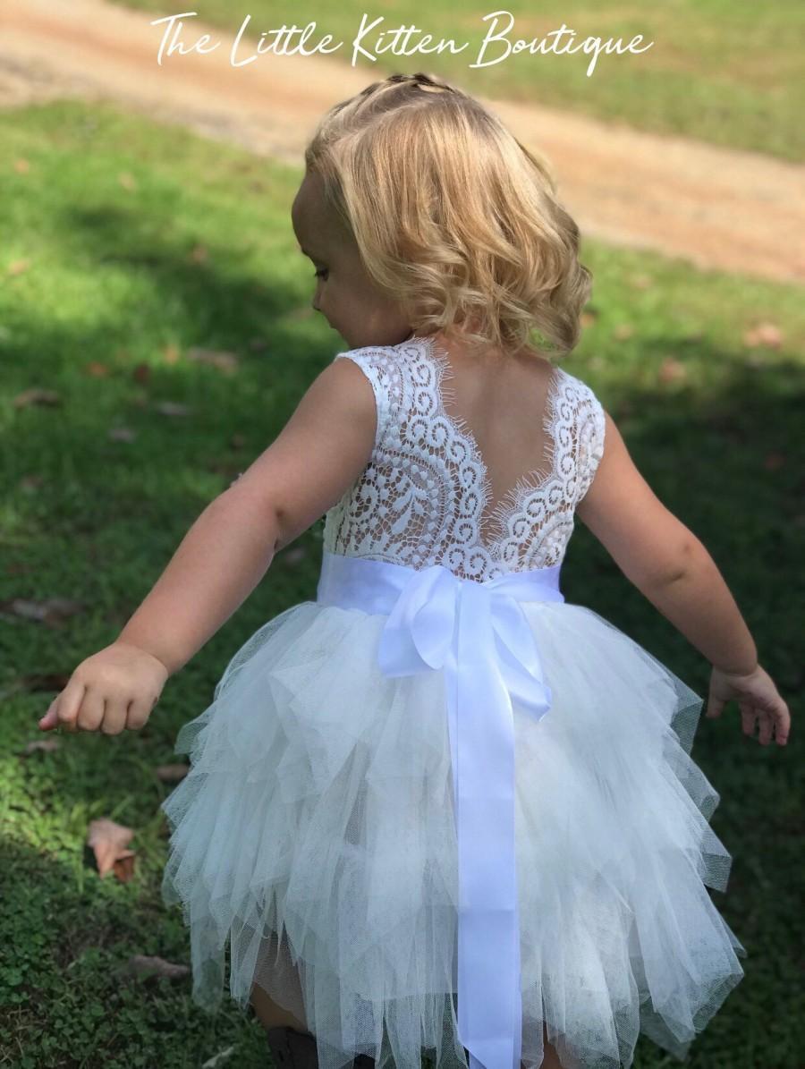 Mariage - Blush pink tulle flower girl dress, White lace flower girl dress, Rustic flower girl dress, Ivory Flower girl, country flower girl dress