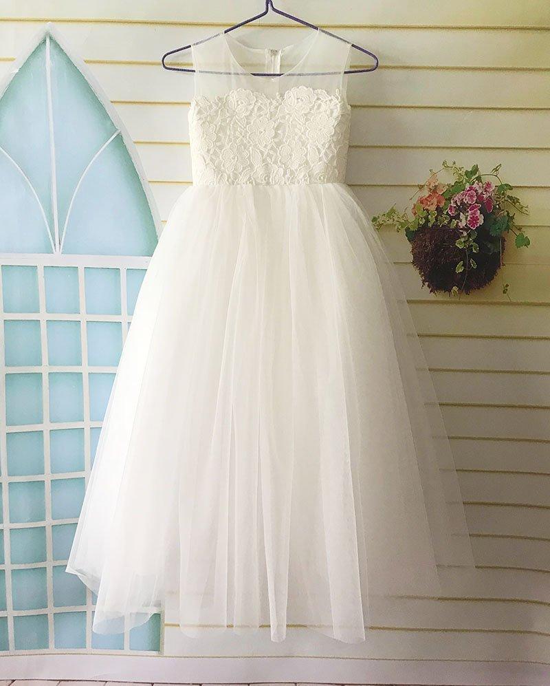 Wedding - Lace Flower Girl Dress, Tulle Flower Girl Dress, Flower Girl Dresses for Wedding, Birthday Girl Dress, tutu Dress Floor Length