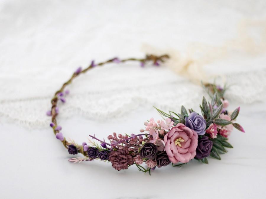 Wedding - Lavender Flower Crown, Mauve Crown, Boho Floral Headband, Bridal Crown, Purple Wedding Floral Crown, Delicate Headpiece, Flower Girl Halo