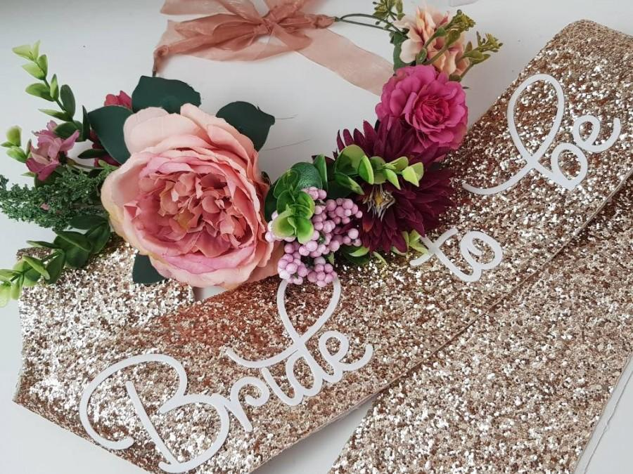 Wedding - Bachelorette Hen Party  Bachelorette Set - Bachelorette Crown- Bride to be Sash - Bridal Shower - Hens do sash- glitter sash floral crown