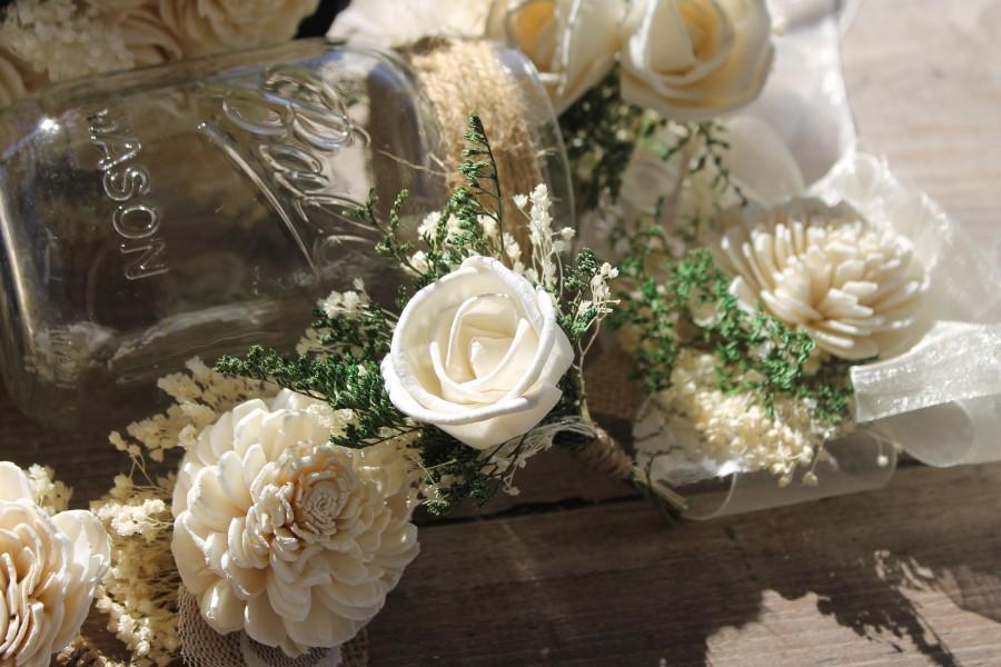 Wedding - Single Rose Sola Boutonniere, Ivory Rose Boutonniere, Ivory Wedding Boutonniere, Ring Bearer Boutonniere, Off White Boutonniere, Open Rose