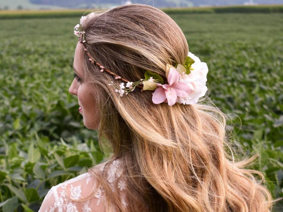Wedding - Blush flower crown. Blush floral crown. Dusty Rose wedding flowers. Blush pink bridal crown. Bridal Headpiece. Blush wedding flower crown.