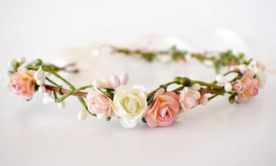 Mariage - Flower crown. Pink, blush and cream flower crown. Wedding headpiece. Flower wedding crown. Bridesmaids crown. Boho wedding. Flowergirl crown