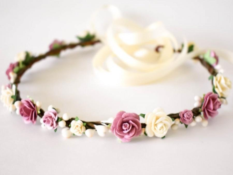 Wedding - Dusty Rose and Ivory flower crown. Mauve flower crown. Rose bridal headpiece. Flower girl crown. Wedding headpiece. Bridesmaids crown.