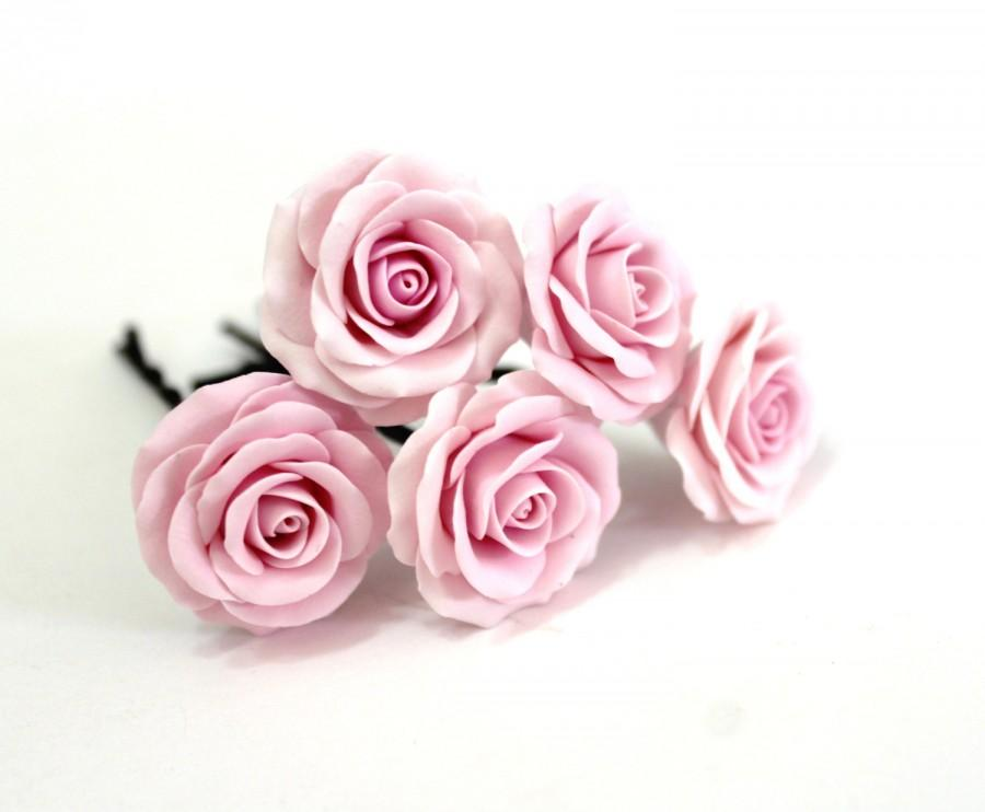 Wedding - Pink rose, Bridal Hair Accessory, Bridal Pink Hair Flower, wedding hair - Set of
