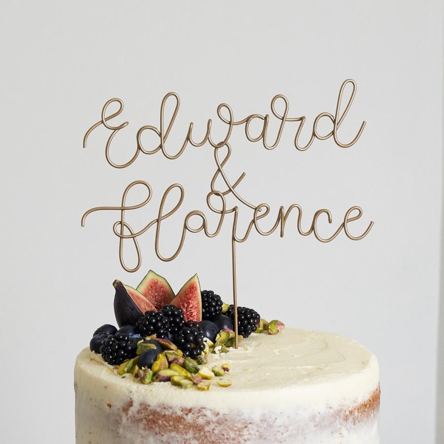Mariage - Script Name Topper, Wedding Cake Topper, Unique Cake Toppers, Gold Name Topper, Wire Cake Topper, Custom Cake Topper, Cake Topper Letter
