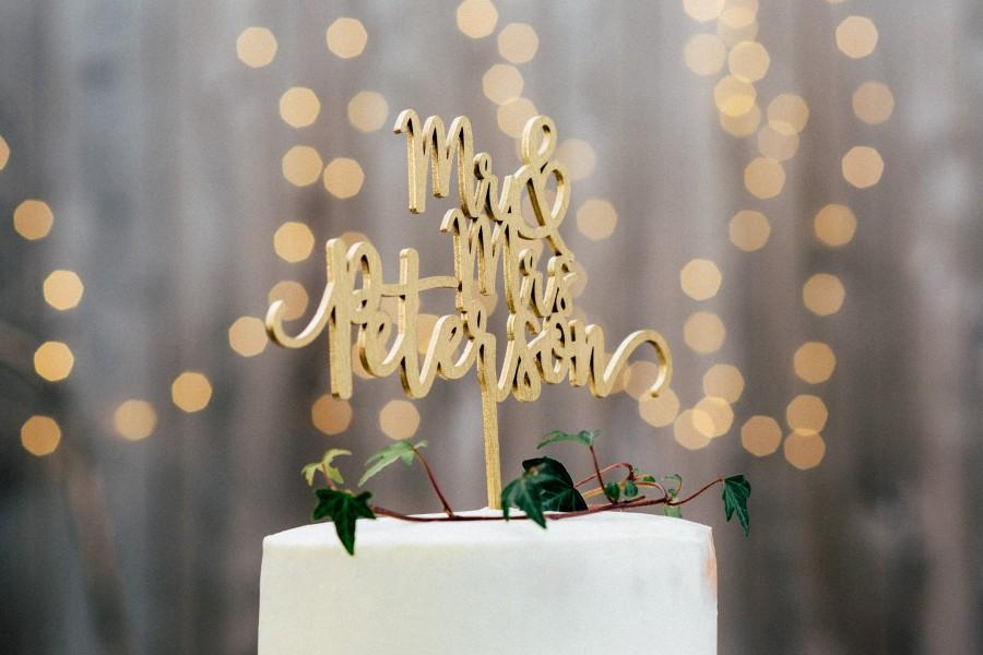 Mariage - Personalized Wedding Cake Topper - Mr and Mrs Cake Topper - Rose Gold, Silver