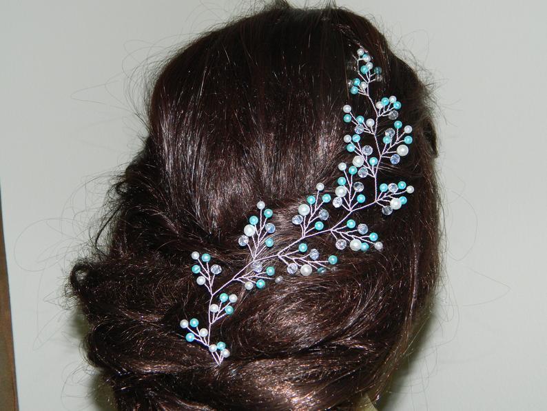 Wedding - Mint White Pearl Hair Vine, Aqua Pearl Bridal Hair Wreath Blue Turquoise White Hair Jewelry Floral Pearl Hair Vine Blue Mint White Headpiece