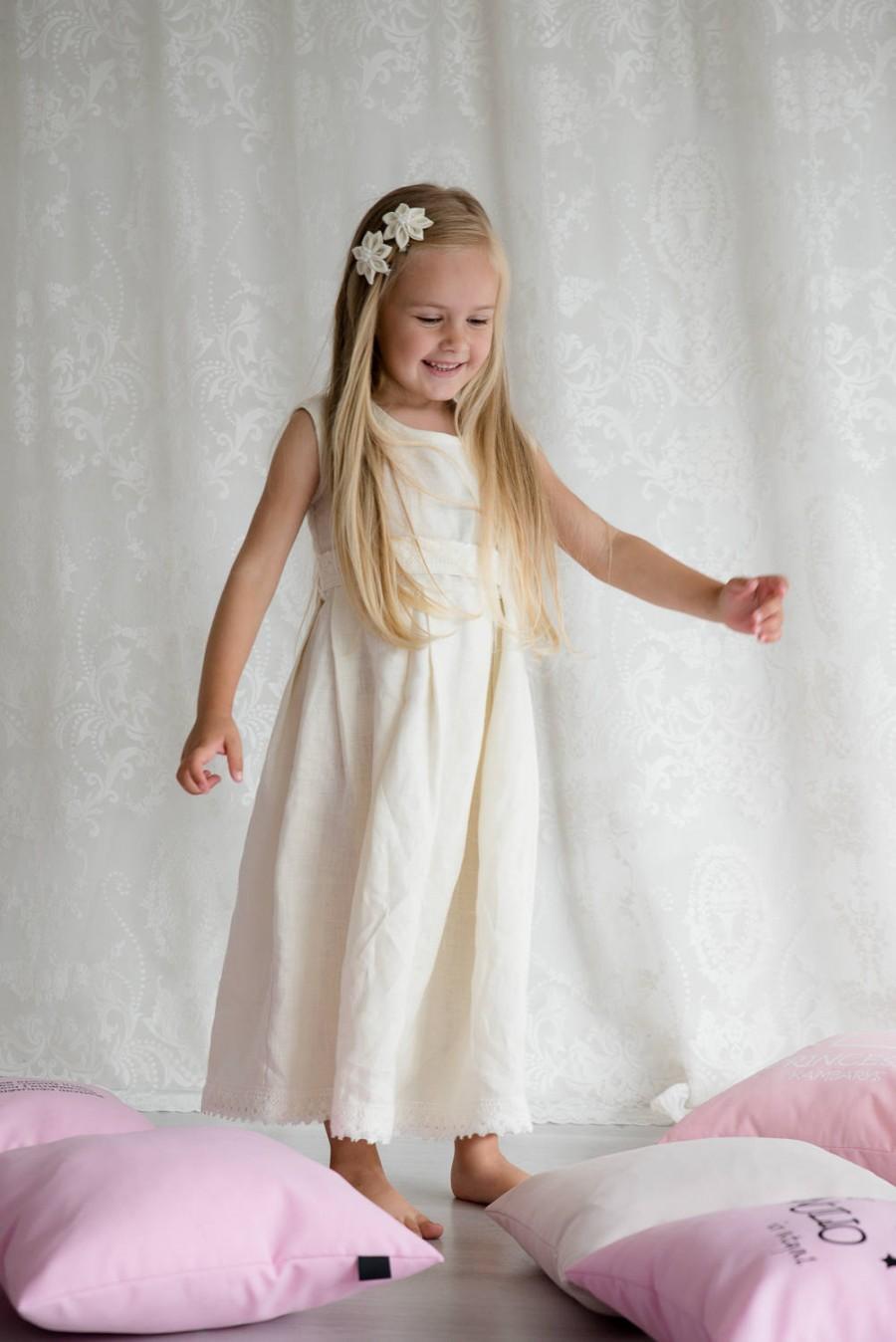 Wedding - Ivory girls linen dress, Christening dress, Ivory flower girl dress, Rustic wedding flower girl outfit, Toddler linen dress, Champagne dress