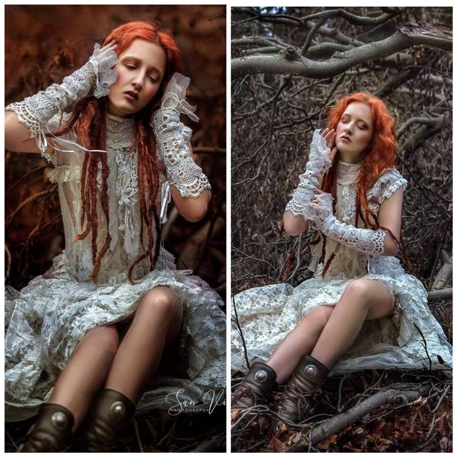 Свадьба - Steampunk wedding dress corset, a bridal gown rufflled,boho wedding dress vintage inspired,pink, antique lace,
