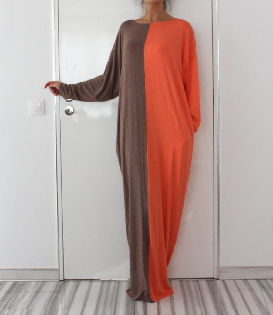 Wedding - Mocha and Orange Half Color Dress
