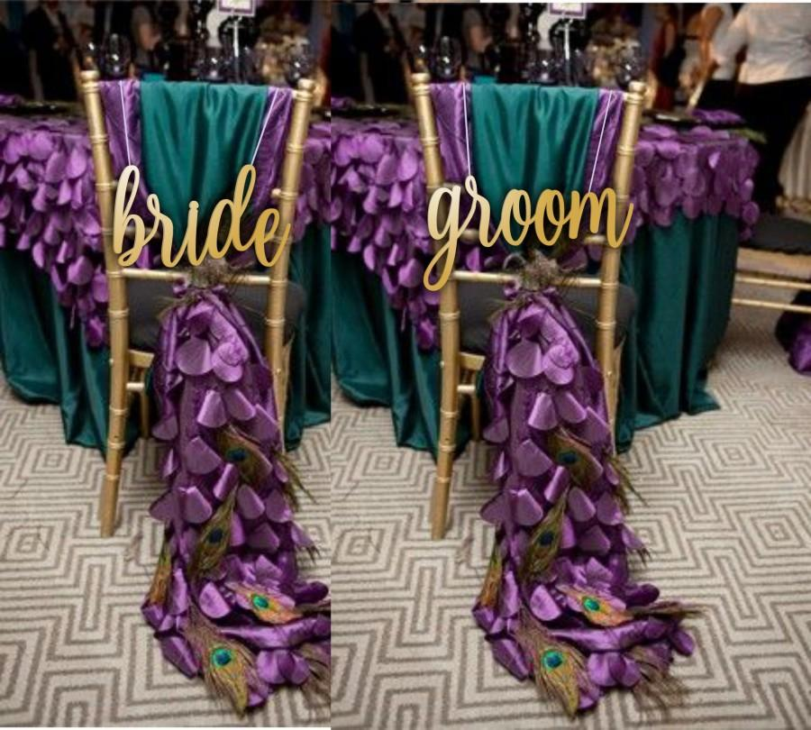 "Wedding - Bride and  Groom  Chair Signs -  Wooden Wedding Sign - Wedding Chair Signs - Please Enter your phone number in the ""NOTE to the seller"""