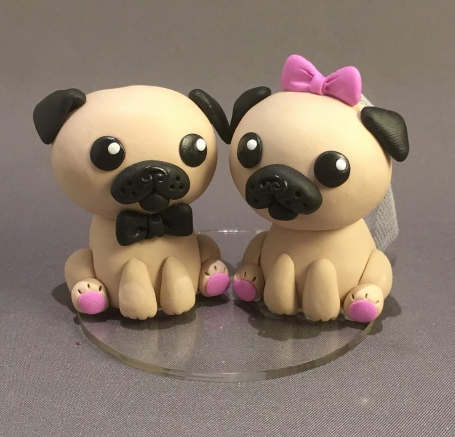 Wedding - Pug Wedding Cake Topper-Pug Bride and Groom-Cake Figurine-Wedding Cake Figures-Dog Cake Topper
