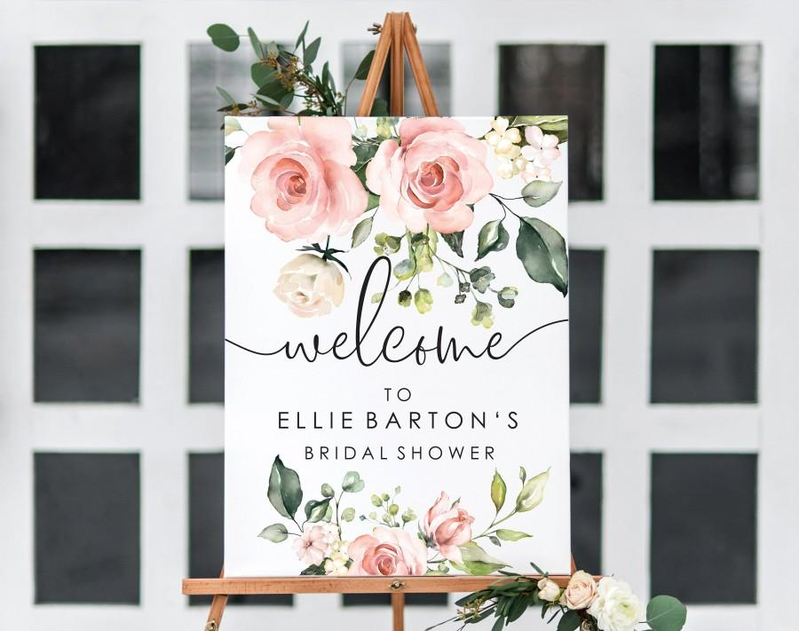 Wedding - Blush Floral Welcome Sign - Printable Wedding Sign - Greenery Welcome Sign - Baby Shower Sign - Engagement Sign - Darcy Floral Pink