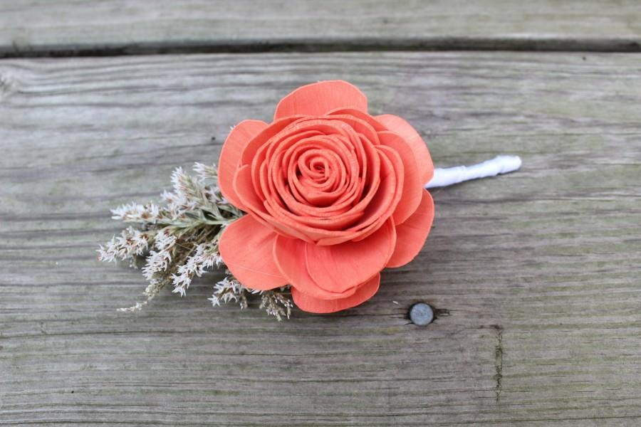 Wedding - Wood Rose Caspia Boutonniere