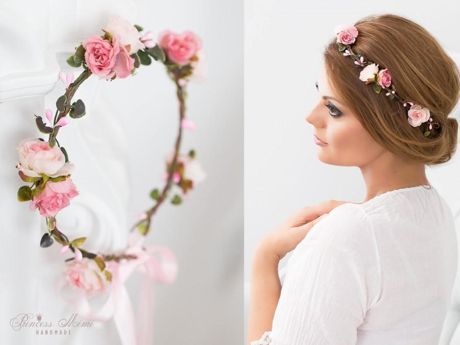 Wedding - Flower Crown, Wedding Tiara, Wedding accessories, Bridal flowers, Fairy Crown,Floral garland, Festival or Bridal Hair Wreath, Hair Flowers