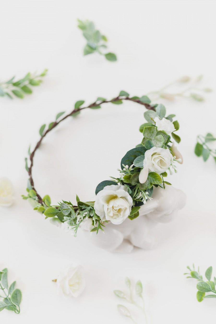 Mariage - Fall Headpiece Flower Crown Greenery Hair Accessory Wedding Hair Piece Woodland Hair Crown Rustic Wreath Bridal Floral Crown Wedding