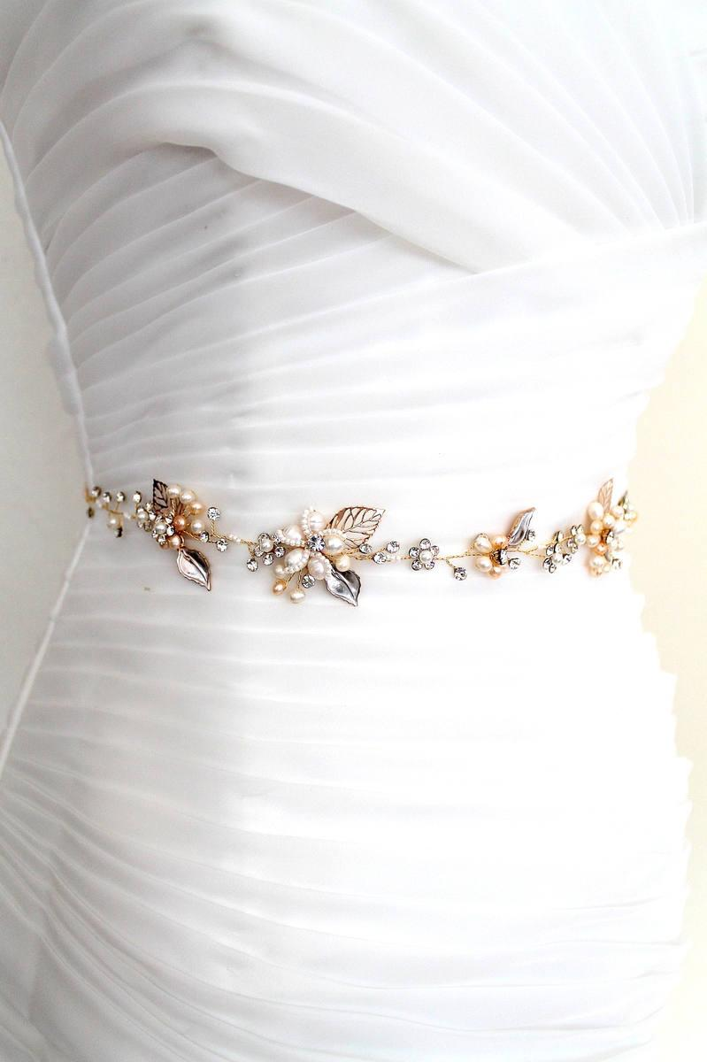 Wedding - Gold or Rose gold Bridal Freshwater Pearl Leaf Vine Sash. Flower Crystal Boho Wedding Belt. Mother of Pearl Wedding Sash. PEARLESCENT