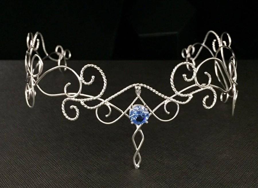 Wedding - Fae Elvish Wedding Circlet in Sterling Silver, Renaissance Circlet, Artisan Sterling Silver Bridal Tiara with Faceted Gemstone, Handmade