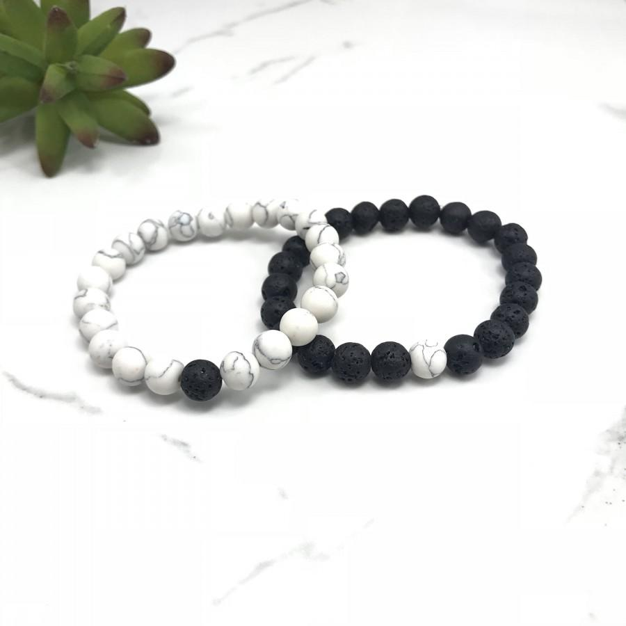 Wedding - His and Her Bracelet, Distance Bracelets, His and Hers Jewelry, Couples Bracelet, His and Hers Bracelet Custom, Couples Lava Rock Bracelet