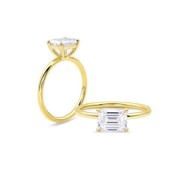 Свадьба - Engagement Ring - East West Solitaire - Emerald Cut DEF Moissanite - 4 prong