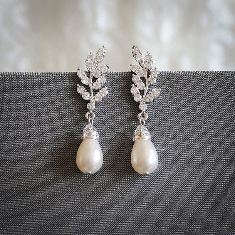Wedding - Wedding Earrings, Rose Gold Bridal Earrings, Crystal Leaf Dangle Earrings, Swarovski Pearl Drop Earrings, Wedding Bridal Jewelry, CINDY