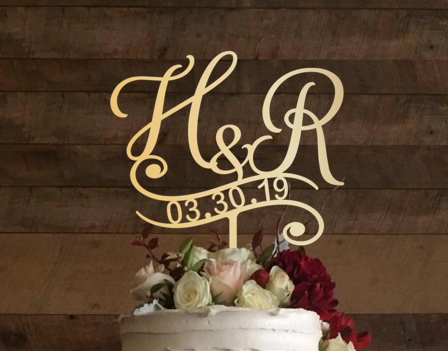 Wedding - r cake topper, wedding cake topper, cake toppers for wedding, rustic cake topper, initial cake topper, monogram cake, cake topper h, #025
