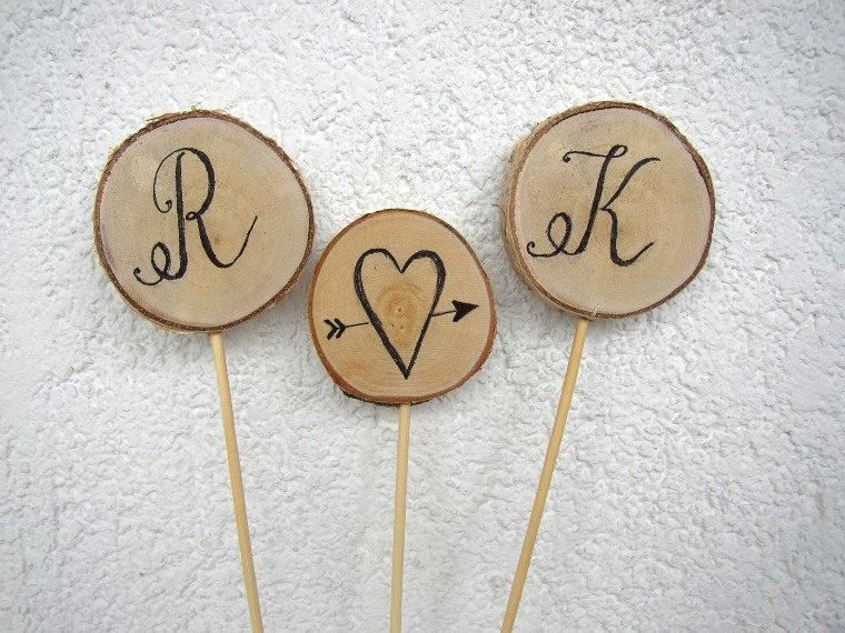 Wedding - Initial Cake Topper, Rustic Wedding Cake Topper, Personalized Cake Topper, Fall Wooden Wedding Decoration, Birch Wedding, Letter Cake Topper