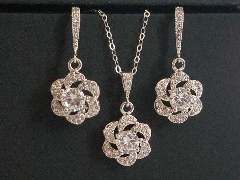 Wedding - Cubic Zirconia Bridal Jewelry Set, Earrings&Necklace Crystal Set, Camellia Wedding Jewelry Set, Floral Crystal Set, Bridal Jewelry, Prom Set