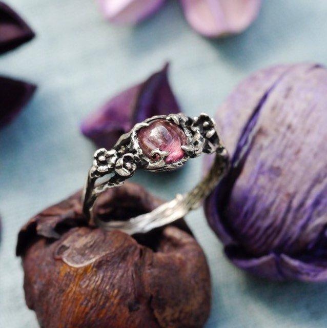 """Wedding - Pink Tourmaline Engagement ring """"Amelie"""" MADE TO ORDER, Alternative Engagement ring-Sterling Silver ring-Promise ring-Flower ring-twig ring"""