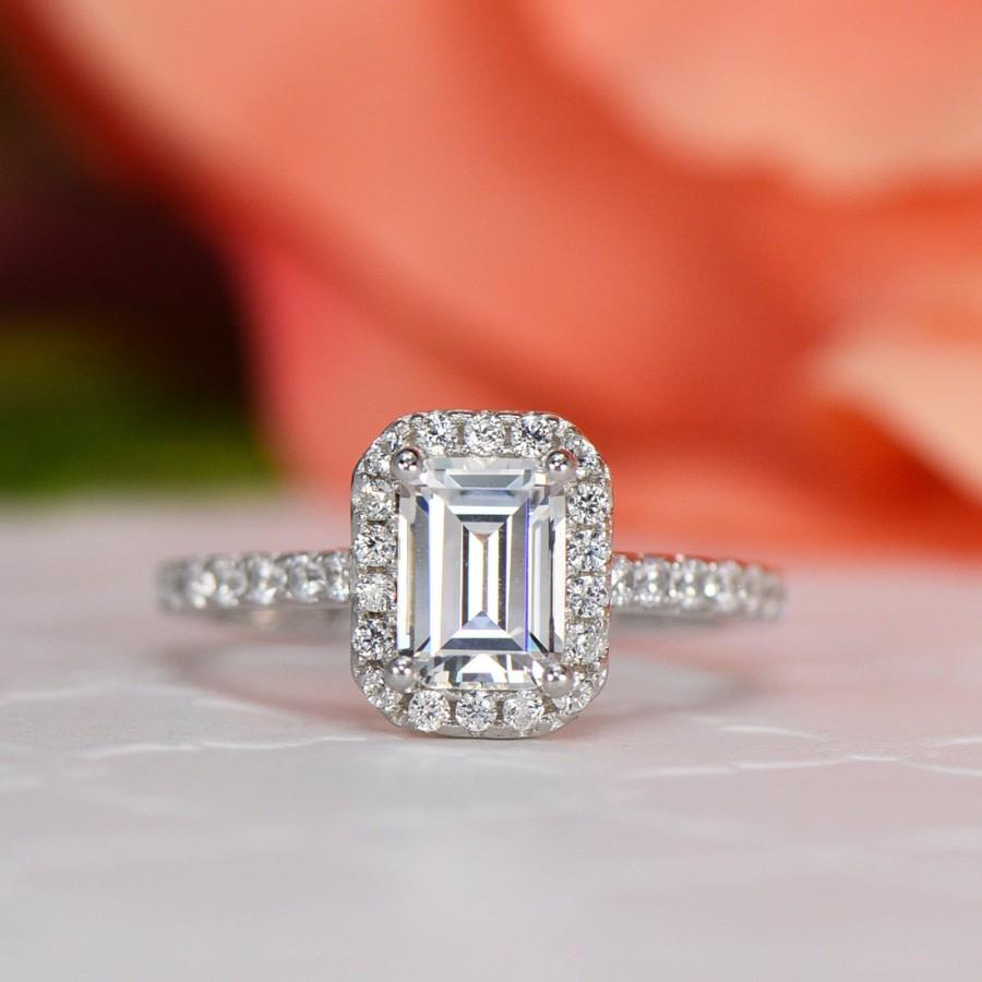 Wedding - 1.25 ctw Emerald Cut Halo Engagement Ring, Man Made Diamond Simulant, Half Eternity Wedding Ring, Promise Ring, Sterling Silver