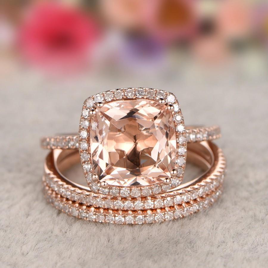 Wedding - Solid 14k Gold Ring,3pc 8x8mm Morganite Engagement Ring Set Rose gold,Diamond Wedding Band,Gemstone Promise Bridal Ring,Halo,Prongs