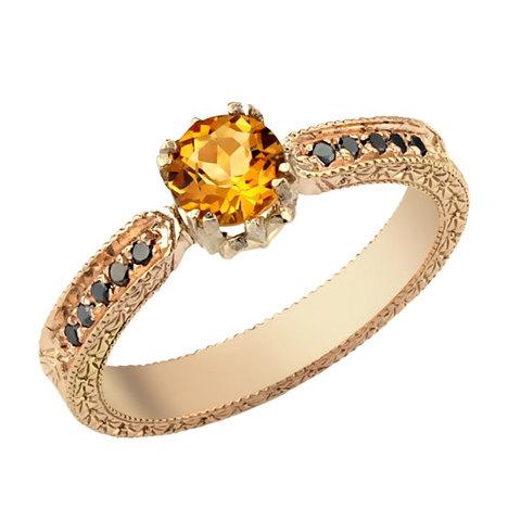 Wedding - Yellow Citrine Ring, Citrine Black Diamond Solid Gold Engagement Ring, Art Deco Engagement Ring, Citrine Birthstone, Antique Style Ring