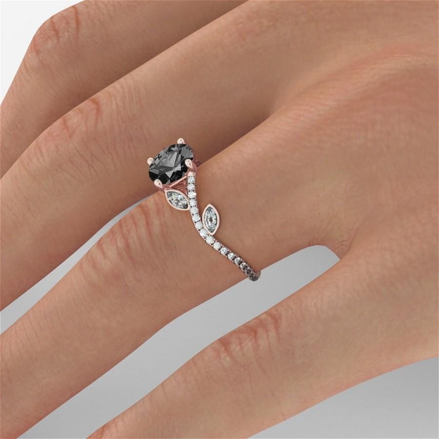 Wedding - Black Diamond Engagement Ring, Flower Diamond Ring, Vintage Engagement Ring, Art Deco Promise Ring, Black Diamond Ring White Gold Marquise