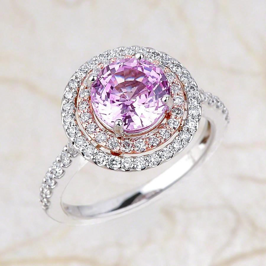 Wedding - Pink Sapphire Engagement Ring White Gold, Lab Grown Pink Sapphire Halo Engagement Ring Two Tone White Rose Gold, Pink Sapphire Engagement