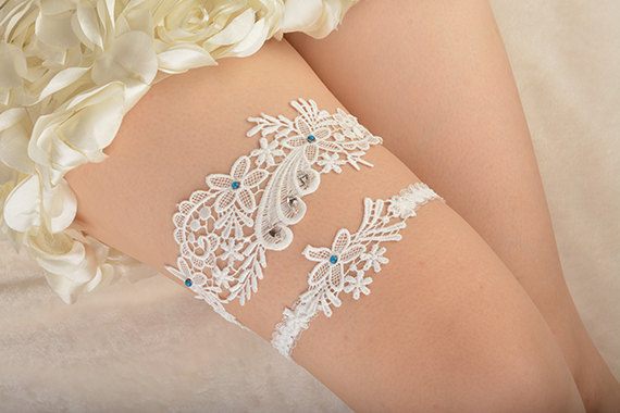 Wedding - bridal garter, wedding garter set, bride garter set,toss garter , something blue garter, beaded floral garter,garters for wedding