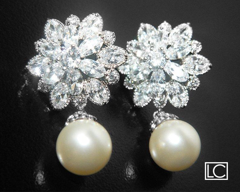 Mariage - Pearl Bridal Earrings, Swarovski Ivory Pearl Cubic Zirconia Earrings, Wedding Pearl Earrings, Pearl Bridal Jewelry, Pearl Silver CZ Earrings