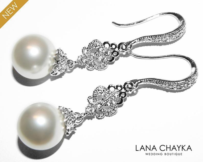 Mariage - Bridal Pearl Chandelier Earrings, Swarovski 10mm White Pearl Earrings, Pearl Drop Bridal Earrings, Wedding Pearl Jewelry, Bridesmaid Jewelry